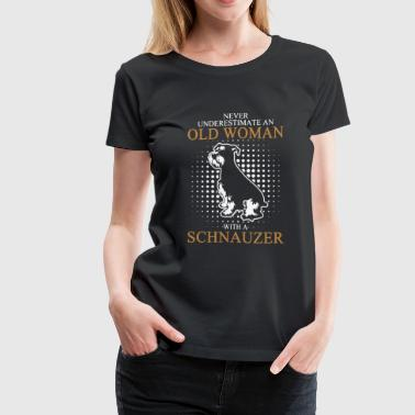 Old Woman With Schnauzer - Women's Premium T-Shirt