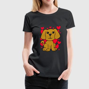 Dog Lovely T-Shirt - Valentines Day Cute Hearts - Women's Premium T-Shirt