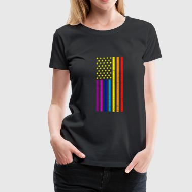 American Flag Rainbow Colors Proud Pride - Women's Premium T-Shirt