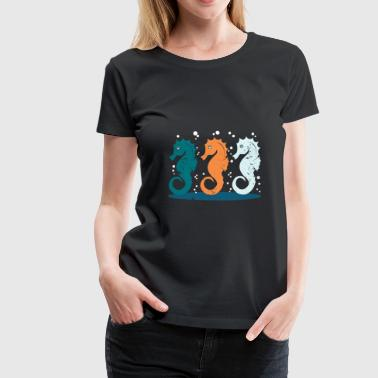 Swim sea horse gift children Christmas sea - Women's Premium T-Shirt
