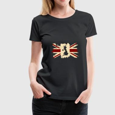 English Flag Map of Great Britain English Blurred Colours - Women's Premium T-Shirt