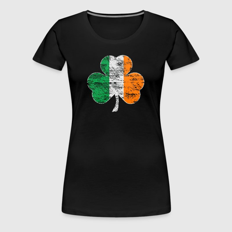 Vintage Distressed Irish Flag Shamrock - Women's Premium T-Shirt