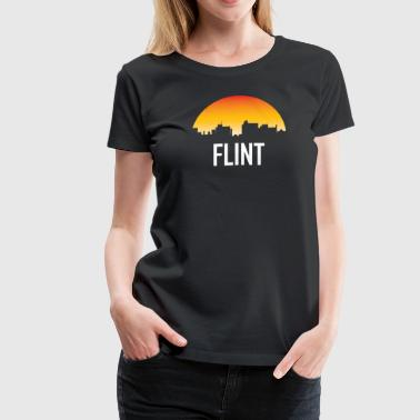 Flint Michigan Sunset Skyline - Women's Premium T-Shirt