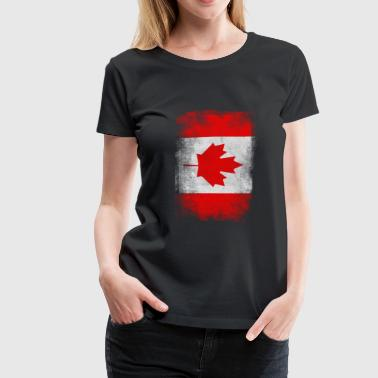 Canadian Roots Canada Flag Proud Canadian Vintage Distressed - Women's Premium T-Shirt