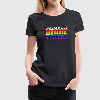 LGBT Aquarius Pride Flag Zodiac Sign - Women's Premium T-Shirt
