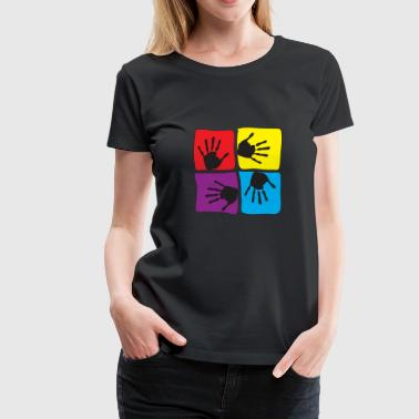 Pop Art Popart Hands Children Kids Love - Women's Premium T-Shirt
