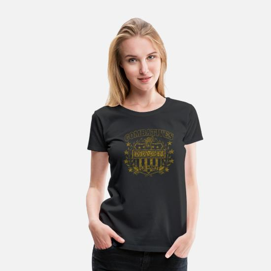 Army T-Shirts - Combatives Shield Distressed.png - Women's Premium T-Shirt black