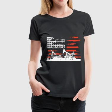 Oilfield Flag Oilfield Patriotic Flag With Oil Pumping Rig ameri - Women's Premium T-Shirt