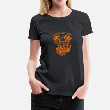 Motorcycle Girl Art Knucklehead Engine Biker Motorcycle - Women's Premium T-Shirt