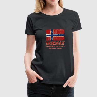 Norwegian Designs Norway Flag - Vintage Look - Women's Premium T-Shirt