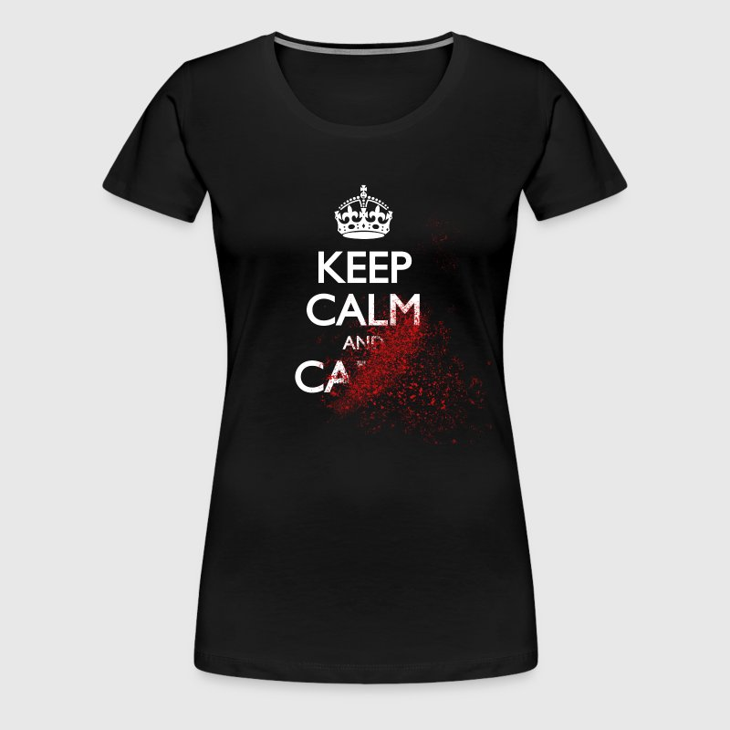 keep calm and carry on blood spatter zombie - Women's Premium T-Shirt