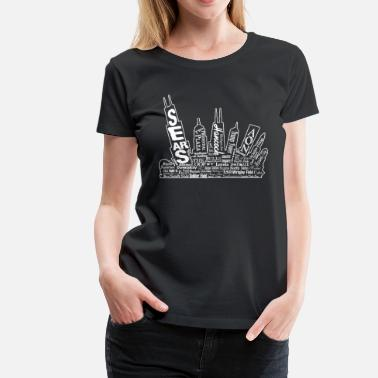 Chicago Skyline Comfy Chicago Skyline Buildings Design - Women's Premium T-Shirt