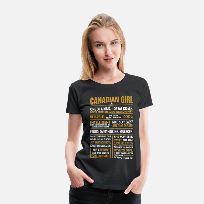 Canadian T-Shirts - Canadian Girl Great Kisser - Women's Premium T-Shirt black