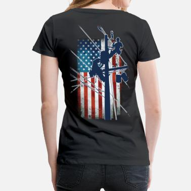 I Love My Attitude Gift For Lineman - Lineman with American Flag Shir - Women's Premium T-Shirt