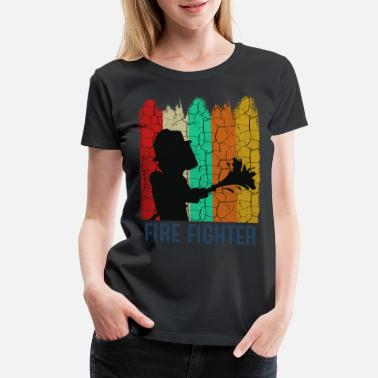 Volunteer Retro Style Vintage Firefighter Cool Silhouette - Women's Premium T-Shirt