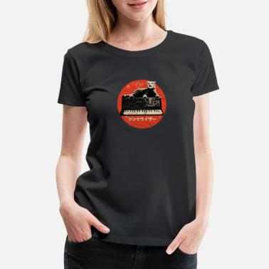 Electronic Musician Vintage Synth & Cat - Analog Synthesizer Nerd - Women's Premium T-Shirt