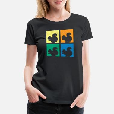 Forest Dweller Squirrel Silhouette Colourful Forest Dweller Gift - Women's Premium T-Shirt