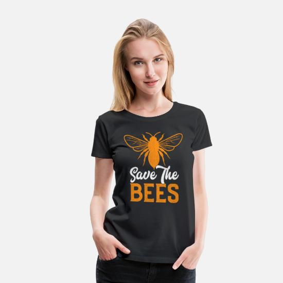 Save The World T-Shirts - Save The Bees Animal Retro Bee Gift - Women's Premium T-Shirt black