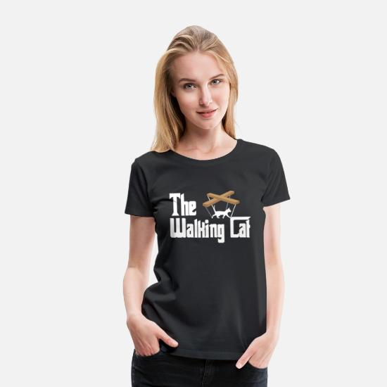 Running T-Shirts - The walking cat cat-lover gift idea meow funny - Women's Premium T-Shirt black