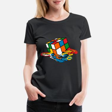 Cube Melting Rubik's Cube Toy - Women's Premium T-Shirt