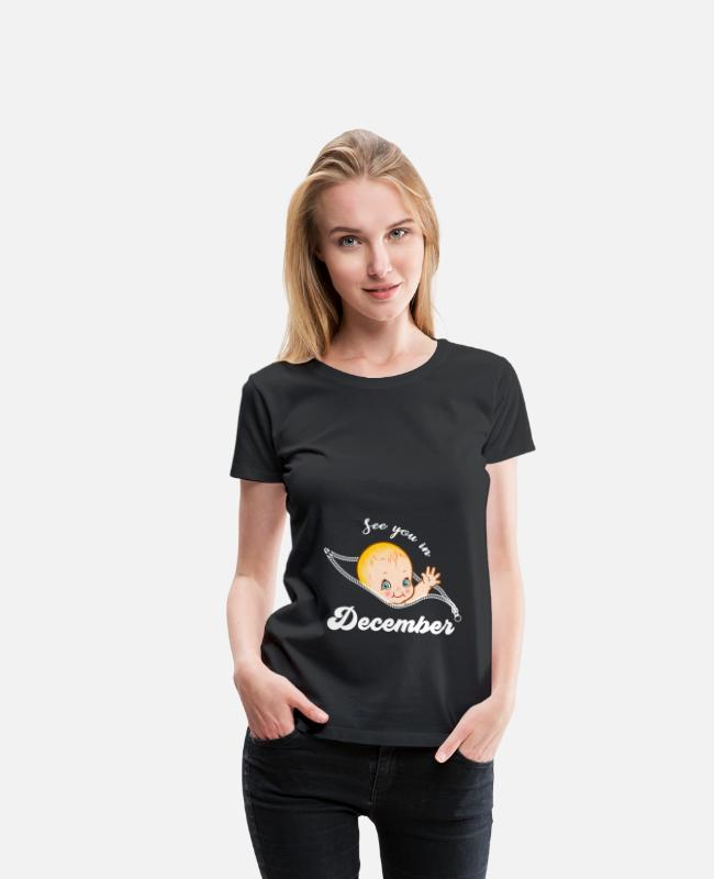 Pregnancy T-Shirts - Pregnant Pregnancy Baby Born December Gift - Women's Premium T-Shirt black