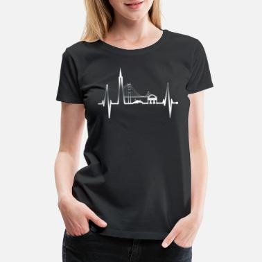 The Golden State San Francisco Heartbeat Skyline California Silver - Women's Premium T-Shirt