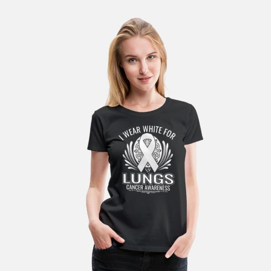 Cancer T-Shirts - i wear white for lungs cancer awareness - Women's Premium T-Shirt black