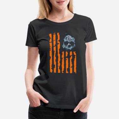 Evolution Of Halloween Funny Witch Zombie Halloween US Flag - Women's Premium T-Shirt