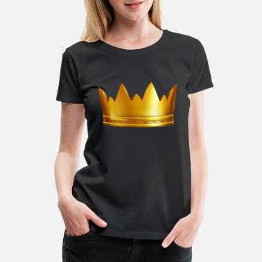 Prince Vip royal golden crown gem king funny vector image - Women's Premium T-Shirt