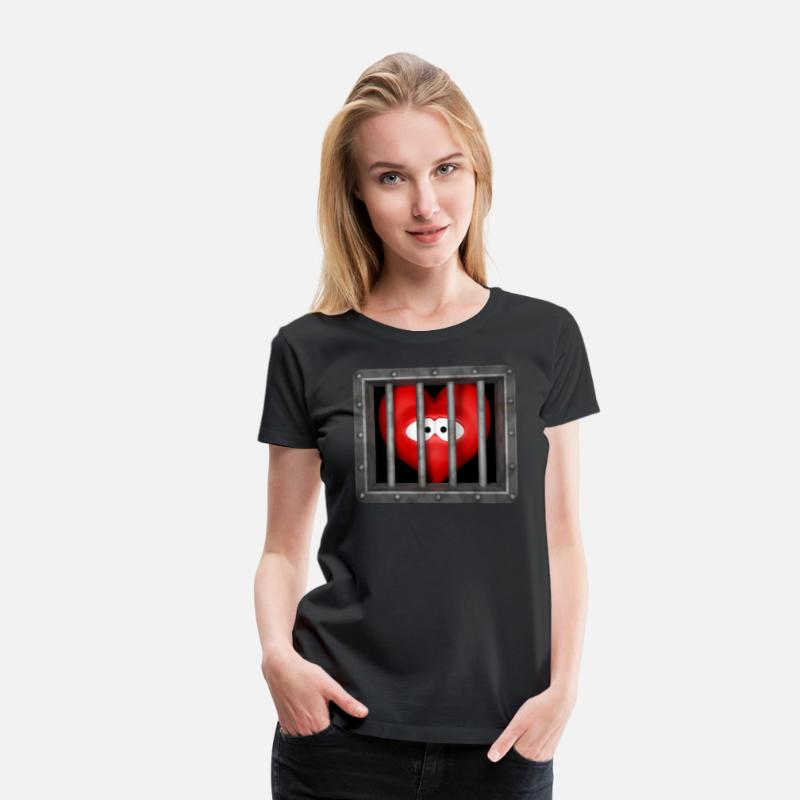 Love T-Shirts - heart behind bars - Women's Premium T-Shirt black