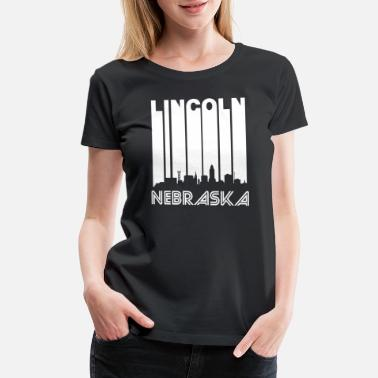 Cityscape Retro Lincoln Skyline - Women's Premium T-Shirt