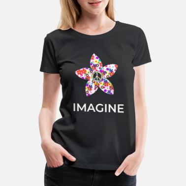 Tranquility Imagine Flower Peace Sign Hippie 60s 70s graphic - Women's Premium T-Shirt