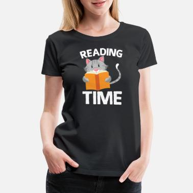 Inspiration Reading Cat Library Student Book Reader Funny Gift - Women's Premium T-Shirt