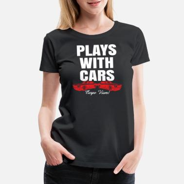 Father Son Matching Plays With Cars - Women's Premium T-Shirt