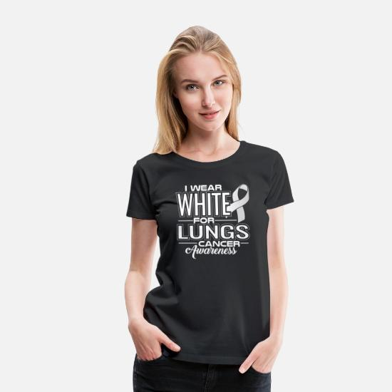 Awareness T-Shirts - I Wear White For Lungs Cancer Awareness - Women's Premium T-Shirt black