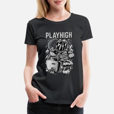 Gaming Graffiti Play high BW - Women's Premium T-Shirt