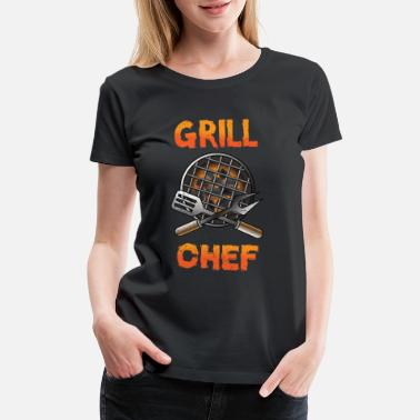 Charcoal Grill Chef Cook Barbeque Steak Meat Food Gift - Women's Premium T-Shirt