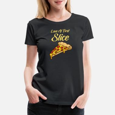 Pepperoni Love Love At First Slice Funny Pizza TShirt Pepperoni - Women's Premium T-Shirt