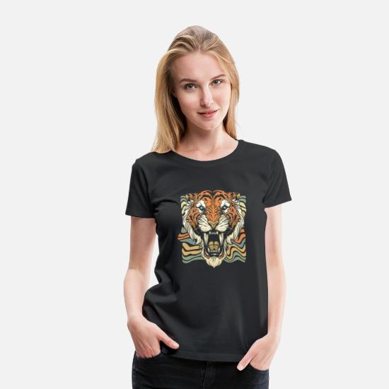 Safari T-Shirts - Tiger Gift Animal Claws Fangs Africa Meat - Women's Premium T-Shirt black