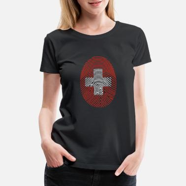 Switzerland Swiss Fingerprint Gift Christmas Flag Cross - Women's Premium T-Shirt