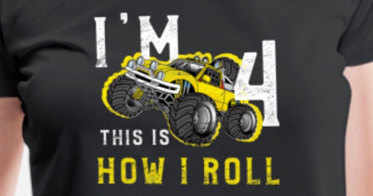 Womens Premium T ShirtIm 4 Years Old Birthday Kids Monster Truck Lover