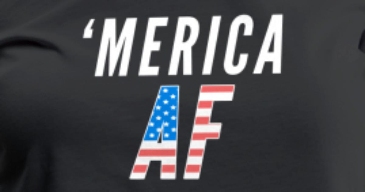 eeeb6820 Merica AF Funny American Flag 4th of July Women's Premium T-Shirt ...