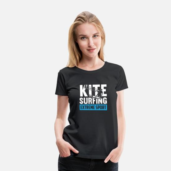 Lover T-Shirts - Kite Surfing Extreme Sport ocean chill wave lover - Women's Premium T-Shirt black