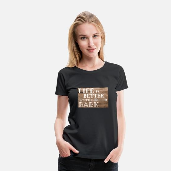 Horse T-Shirts - Life is better at the barn - retro style sign - Women's Premium T-Shirt black