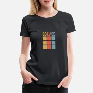 Cube Solved Rubik's Cube Riddle Puzzle Game Retro 90's - Women's Premium T-Shirt