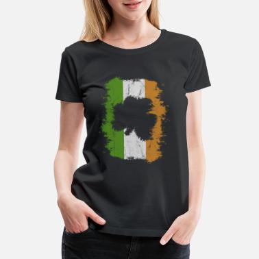 Cool Leprechaun St Paddys Day Irish Flag Grungy Shamrock Cutout - Women's Premium T-Shirt