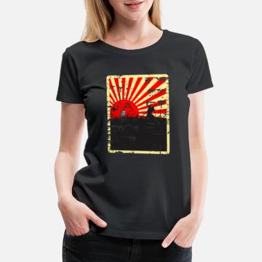 Japan Rising Sun Rising Sun Samurai Distressed Design - Women's Premium T-Shirt