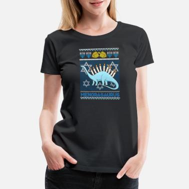 Chanukah Hanukkah Ugly Christmas Design Menorasaurus Funny - Women's Premium T-Shirt