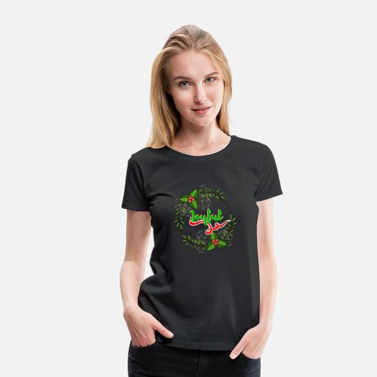 Reason T-Shirts - Cool Christmas Joyful Wreath - Women's Premium T-Shirt black
