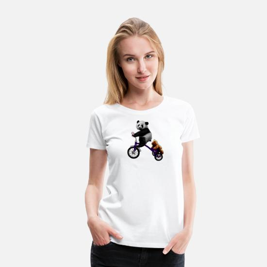 Tricycle T-Shirts - panda bear tricycle teddy - Women's Premium T-Shirt white